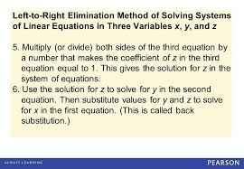 solving systems of equations in three variables math left to right elimination method of solving systems of linear equations in three variables math