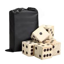 high roller yard dice set with wooden dice and reusable scorecard included in nylon storage bag