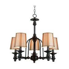stewart 5 light rubbed oil bronze chandelier with fabric shades