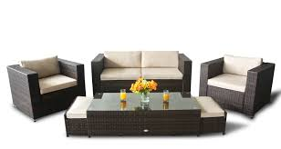 2 seater patio rattan 6pcs sofa set in chocolate and cream free outdoor er