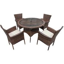 cambridge 4 rattan garden chairs and small round table set in chocolate and cream set cam 005