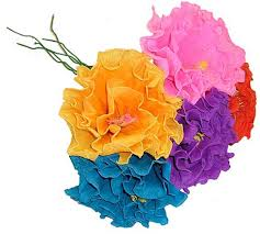 Flower Made In Paper Brightly Colored Handmade Mexican Paper Flowers Fiesta Party Decorations