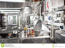 Utensils Hanging In Commercial Kitchen Stock Image Image - Commercial kitchen