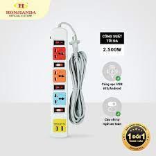 Ổ cắm điện đa năng Có USB Honjianda Mã 07 Dây 3m - an toàn chống quá tải - Ổ  cắm điện