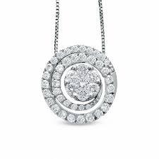 t w diamond swirl flower pendant in 14k white gold