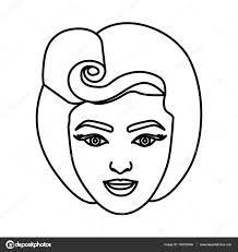 Silhouette Dessin De Visage Femme Avec Eighties Coiffure