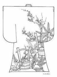 正月の松竹梅の柄の着物の塗り絵の下絵画像