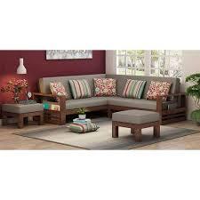 5 seater l shape wood simple sofa set