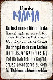 Danke Mama Du Bist Immer Für Mich Dasuße Metal Sign Deko Schild