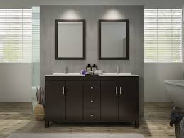 modern double sink vanity set in espresso finish