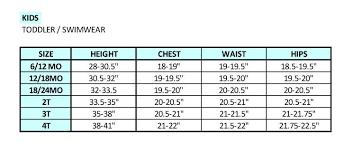 Toddler Size Chart Dippin Daisys Swimwear