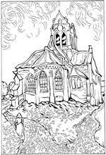 Small Picture Coloring page Van Gogh Starry Night colour your own master