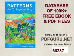 Patterns For College Writing Pdf Cool Patterns For College Writing A Rhetorical Reader And Guide 48th