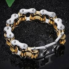 Innovato Design Jewelry Innovato Silver Gold Stainless Steel Motorcycle Bracelet