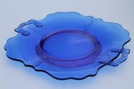 vintage cobalt blue glass plate vintage cobalt blue glass cake plate w handles mt pleasant depression
