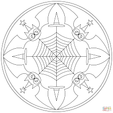 Small Picture Halloween Mandala with Bats coloring page Free Printable