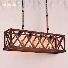 nordic american country past retro rope four rectangular wooden from chandeliers with wood and metal