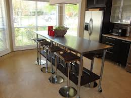 image of stainless steel kitchen island with seating