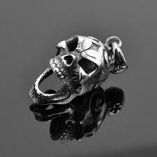 skull sterling silver charms pendant 925p movsk movable mouth creepy skull head sterling silver pendant