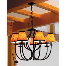 wrought iron 7 light chandelier amphora with amber chandelier shades