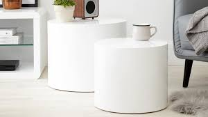 round white gloss side tables