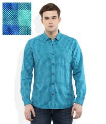 Indigo Nation Green Slim Fit Checks Full Sleeves Shirt