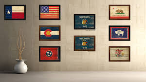 artwork for the office. Wisconsin State Vintage Flag Canvas Print With Brown Picture Frame Home Decor Man Cave Wall Art Artwork For The Office N