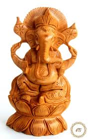 crafts gallery wooden ganesha carved statue 6 inch