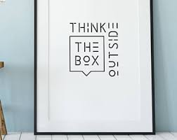 creative office wall art. Think Outside The Box, Be Creative Quote, Office Wall Art, Modern Print, Art