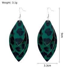 product details of ueashion leopard pu leather earrings three layer retro eardrop women jewelry gifts