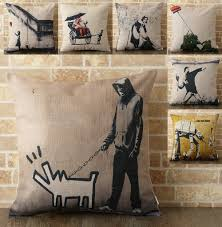 Welly: <b>Cushion Cover 45 x 45-cm</b> Banksy <b>Scandinavian</b> graffiti ...