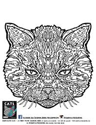 Complicated Cats Black Line Tabby Cat Complicated Coloring Free