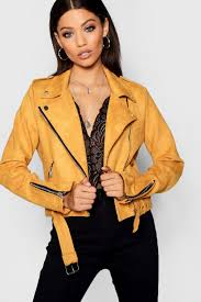 boohoo premium faux suede biker jacket mustard dzz46230 gcxbbqf