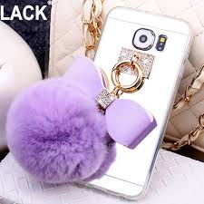 samsung galaxy s5 girly phone cases. luxury rabbit fur ball bowknot case for samsung galaxy s5 /s7 s7 edge/ s6 girly phone cases u