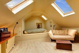 Low Ceiling Attic Bedroom Ideas Leather Headboard Classy Wallpaper Beige  Fabric Recli Brown Wood Nighstand Textured Wood Brown Floor