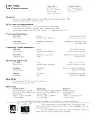 Theatre Resume Simple Theater Resume Template Theatre Drama Teacher College Free Technical