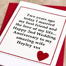 Personalised 2nd Wedding Anniversary Card By Jenny Arnott Cards