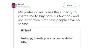 write letter recommendation college student student claims college prof charged him for recommendation