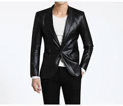 new style fashion mens leather jacket brand leather blazers men slim fit suit jacket men s clothing