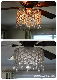 luxury bling ceiling fan batchelor way d i y chandelier solution added a strip of frosted window light kit uk globe out