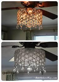 luxury bling ceiling fan batchelor way d i y chandelier solution added a strip of frosted window