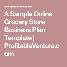 Online Sales Business Plan A Sample Online Grocery Store Business Plan Template
