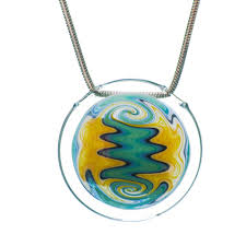 hand blown glass hollow wig wag pendant 2