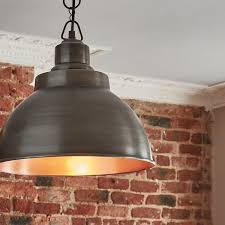 brooklyn vintage 13 inch metal dome pendant light dark pewter copper previous next