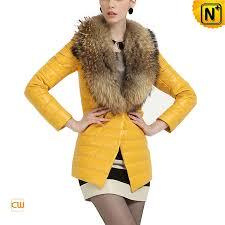 women leather down coat yellow cw613582 cwmalls com
