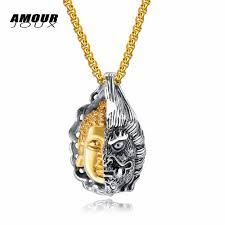 Face Pendant Design Amourjoux Punk Kind Evil Half Buddha Demon Face Hiphop Rock Design 316l Stainless Steel Pendant Necklaces For Men