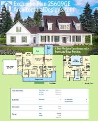 architectural designs modern farmhouse plan 25609ge this home gives you front and rear porches farm house plans for estate lots