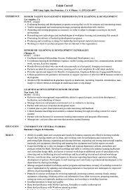 Senior Learning Development Resume Samples Velvet Jobs