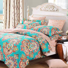 teal blue pink and red baroque style bohemian chic tribal print indian pattern full queen size bedding sets