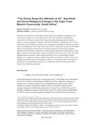 Pdf The Group Areas Act Affected Us All Apartheid And Socio